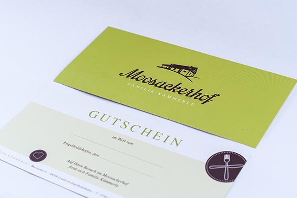 Moosackerhof: Gutschein undKuvert